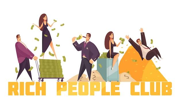 Exklusive kopfzeile des club der reichen prominenten mit millionär, der vom horizontalen kompositionskarikatur des geldhaufens rutscht
