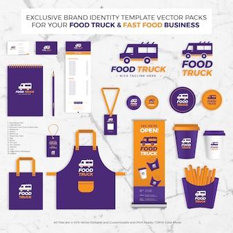 Exklusive markenidentitätsschablonen-vektor-packs für food truck business