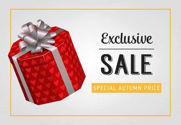 Exklusiver verkauf, spezieller herbstpreisbeschriftung mit geschenkbox