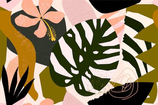 Exotische anlagen der abstrakten modernen tropischen paradiescollage und nahtloses muster der geometrischen formen.