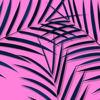 Exotische blätter hintergrund. botanische blätter auf tausendjährigem rosa hintergrund. exotischer hintergrund