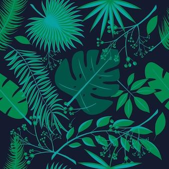 Exotische blätter, regenwald. nahtloses realistisches tropisches blattmuster