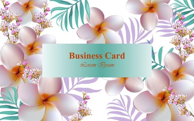 Exotische blumen designkarte vektor. hintergrund für visitenkarte, markenbuch oder poster