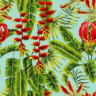 Exotische blumen und bananenblätter, die nahtloses muster malen