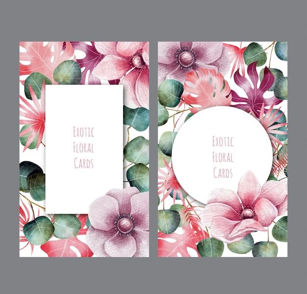Exotische blumenkarten mit bleistiftzeichnung