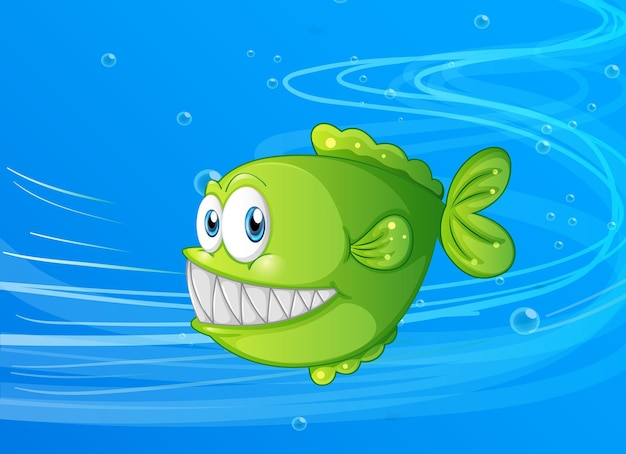 Exotische fisch-cartoon-figur in der unterwasserszene