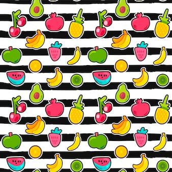 Exotische früchte auf nahtlosem muster der streifen. sommerfrucht, kirsche auf schwarz-weiß gestreiftem hintergrund