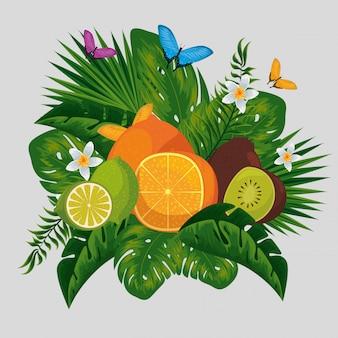 Exotische früchte mit tropischen blumen und schmetterlingstieren