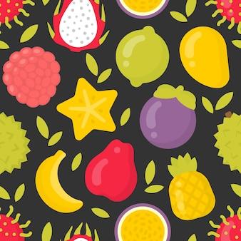 Exotische früchte, nahtloses muster auf dunklem hintergrund