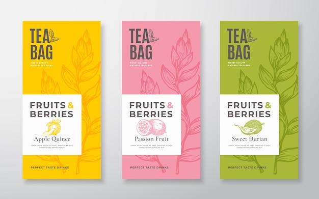 Exotische früchtetee-etiketten setzen vektor-verpackungsdesign-layouts bündeln moderne typografie handgezeichneter tee...