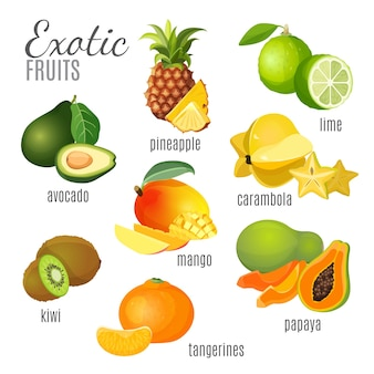 Exotische ganze frucht und ihre hälften sammlung auf weiß. grüne limette und papaya, orangefarbene mandarine und mango, braune kiwi und ananas, gelbe karambole, dunkelgrüne avocado. tropisches fruchtplakat