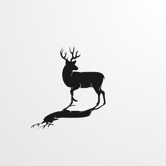Exotische hirsch-silhouette-abbildung