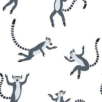 Exotische madagassische lemuren mit langen gestreiften schwänzen. hand gezeichnetes nahtloses muster des vektors