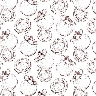Exotische mangostan-skizze nahtloses muster.