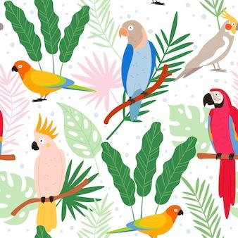 Exotische papageien der bunten karikatur und nahtloses muster der tropischen blätter. kakadu, ara, kolumbien-paradiesvogel. flacher wilder papageienvektordruck