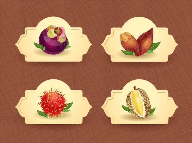 Exotische thailändische früchte abzeichen vorlage