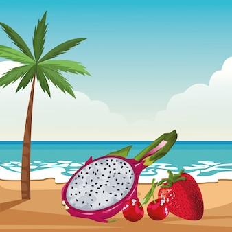 Exotische tropische fruchtikonenkarikatur