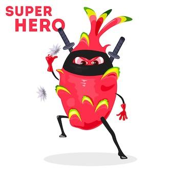 Exotische tropische superheldenfrucht mit metallwaffe und schwertern