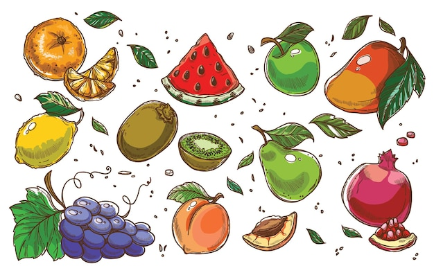 Exotische und tropische reife früchte, wassermelonenscheibe, zitrone mit apfel