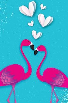 Exotische vögel lieben. flamingo-paar