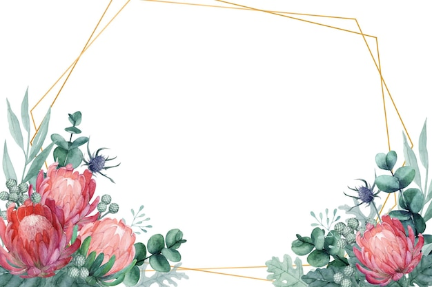 Exotischer blumenrahmen mit königin protea, distel und eukalyptusblättern