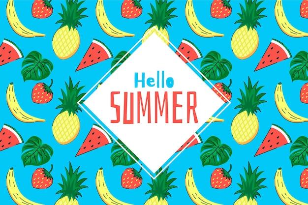 Exotischer fruchthand gezeichneter sommerhintergrund