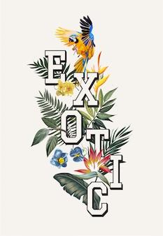 Exotischer slogan mit macawvogel und tropischen blumen