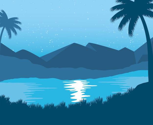 Exotischer strand mit abstrakter landschaftsszene der palmen