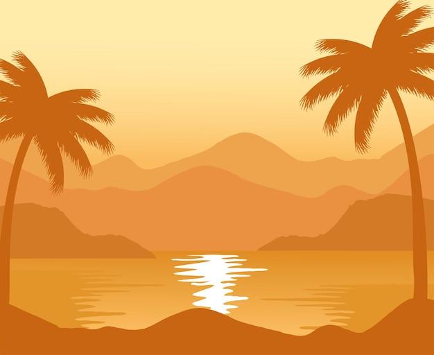 Exotischer strand mit abstrakter landschaftsszene des palmensonnenuntergangs
