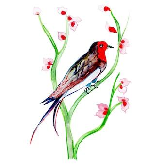 Exotischer vogel des schönen aquarells auf einem niederlassungs-hintergrund