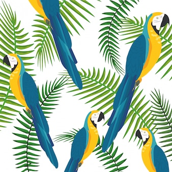 Exotischer vogel und tropischer blatthintergrund