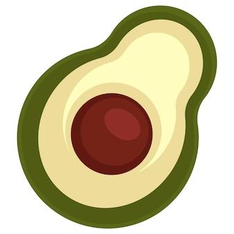 Exotisches gemüse, das in der asiatischen und westlichen küche verwendet wird. isolierte ikone der avocado mit samen. aromatisches und nahrhaftes gemüse. reife produkte aus biologischem anbau. rohe zutat. vektor im flachen stil