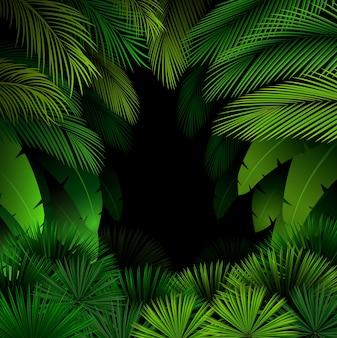 Exotisches muster mit tropischen blättern auf einem schwarzen hintergrund