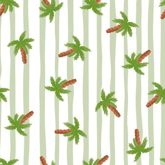Exotisches nahtloses gekritzelmuster mit grünen zufälligen palmenelementen. grau gestreifter hintergrund. entworfen für stoffdesign, textildruck, verpackung, abdeckung. vektor-illustration.