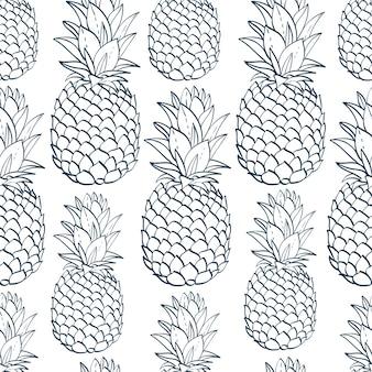 Exotisches nahtloses muster mit ananas