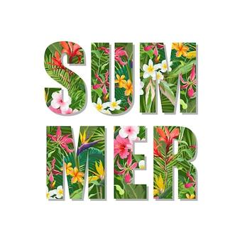 Exotisches sommerdesign. tropischer blumen-und blätter-hintergrund. t-shirt mode-grafik.