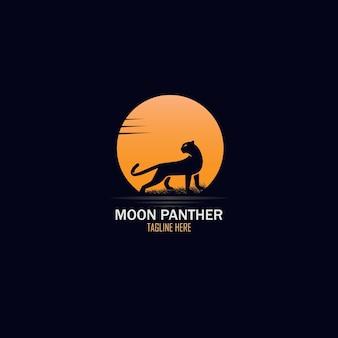 Exotisches vollmond- und panther-logo-design