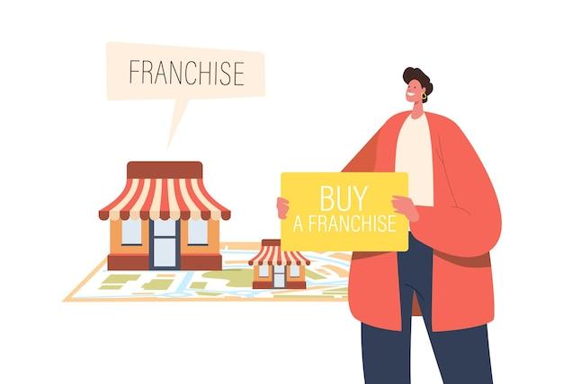 Expansionskonzept für kleine und mittlere unternehmen. männlicher charakter mit banner mit aufschrift kaufen sie franchise in der nähe einer riesigen karte mit verkäufer-kiosken. kmu-entwicklung, franchising. cartoon-vektor-illustration