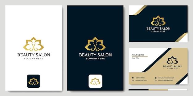 Expert beauty barber shop logo, schere und blumenvektorillustrationsdesign, luxuriöses und modernes haircut salon logo template vector design