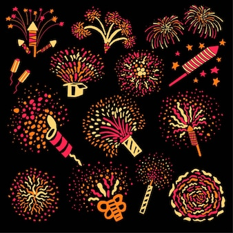 Explodierende böller und feuerwerkskörper für den urlaub. isolierte funkelnde und platzende pyrotechnik für lustige ferien oder veranstaltungen. herzlichen glückwunsch und gruß während der festlichen, vektor im flachen stil