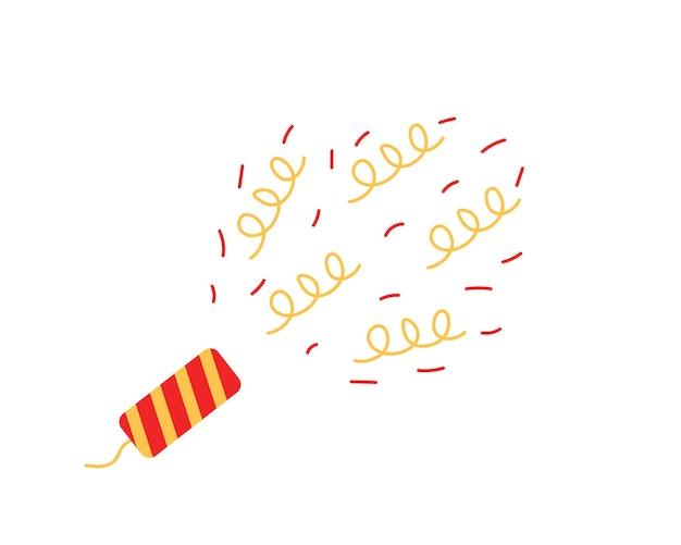 Explodierende party popper mit konfetti. illustration der feier