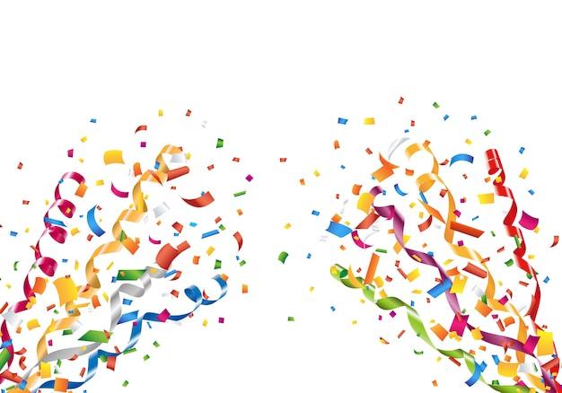 Explodierende partykonfetti und luftschlangen