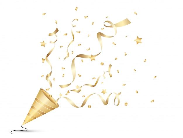 Explodierendes party-poper-goldfarbisolat auf weißem hintergrund