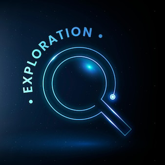 Exploration bildung logo vorlage vektor mit lupengrafik