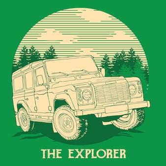 Explored off road allradantrieb illustration design