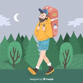 Explorer mit rucksack hintergrund