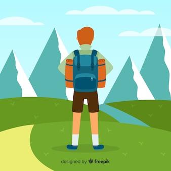 Explorer mit rucksack