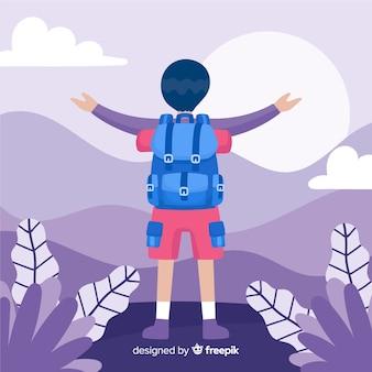 Explorer mit rucksackhintergrund