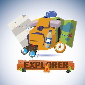 Explorer-tools mit design-buchstaben.