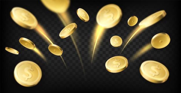 Explosion der goldenen münzen. realistische dollarmünzen, die mit beweglichen spuren fliegen, glücksspielpreis, casino-jackpot, geldbargeld, münzregenvektorkonzept